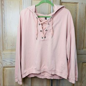 Blush/Soft Pink lace up hoodie
